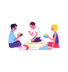 Happy men woman playing board game vector