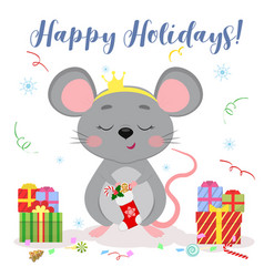 Happy new year and merry christmas cute mouse a vector