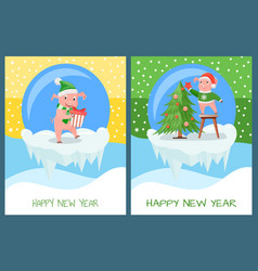 happy new year piglet with present tree decor vector image