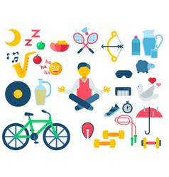 Health and longevity icons modern activity vector