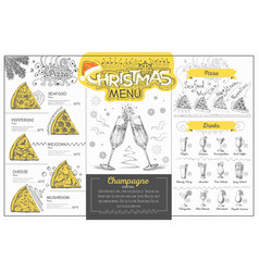 Holiday christmas menu design with champagne vector