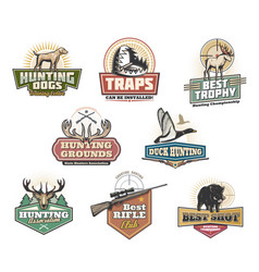 Hunt club open season wild animals and ammo icons vector