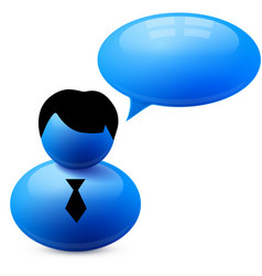 Icon of person with speech bubble vector image