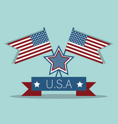 Independence day with flags and ribbon design vector