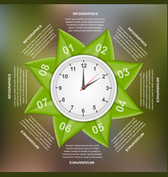 infographics design with green leaves in a circle vector image