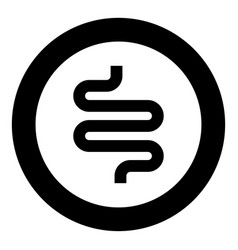 Intestine or bowels icon black color in circle vector