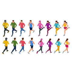 Isometric running people front and rear view vector