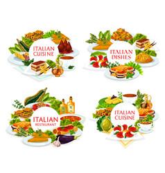 Italian cuisine italy meals round frame set vector