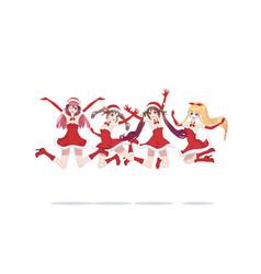 Joyful anime manga girls as santa claus in a jump vector