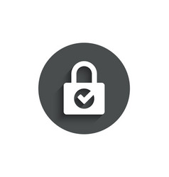 lock with check simple icon private locker sign vector image