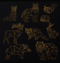 low poly golden line animals set origami vector image