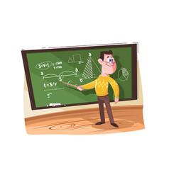 Maths teacher pointing at different formulas vector