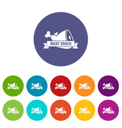 meat icons set color vector image