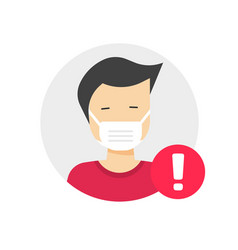 medical face mask caution or warning notification vector image