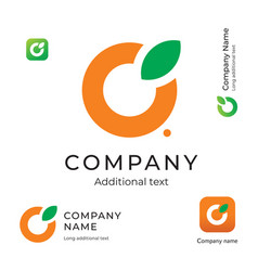 Orange with a leaf logo simple and clean modern vector