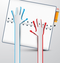 Paper Hands with Notebook vector image