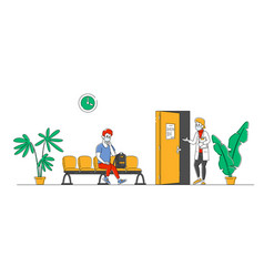 Patient man character sitting in clinic or vector