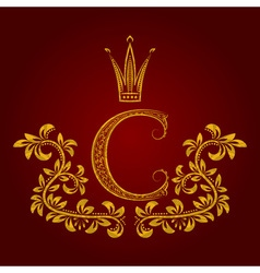 Patterned golden letter C monogram in vintage vector