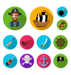 pirate sea robber flat icons in set collection vector image