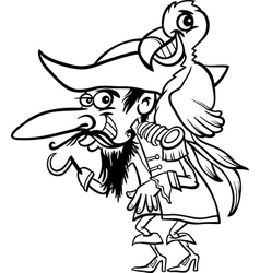 pirate with parrot for coloring book vector image