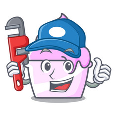 Plumber ice cream paper cup mascot cartoon vector