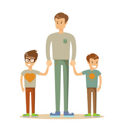 portrait of a father with his two children having vector image
