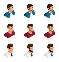 quality isometry a set 3d avatars vector image
