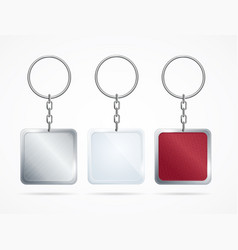 realistic metal and plastic keychains set vector image