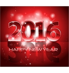 Red 2016 happy new year background with sparkle vector image