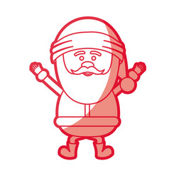 Red silhouette of santa claus happy vector