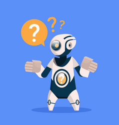 Robot with question mark cyborg isolated on blue vector