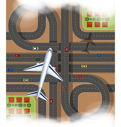 Scene with airplane flying over the express way vector
