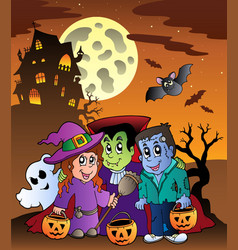 scene with halloween mansion 9 vector image