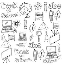 School tools classroom supplies in doodle vector