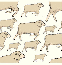 seamless color cute sheep pattern childish vector image