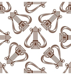 Seamless musical harp pattern vector image