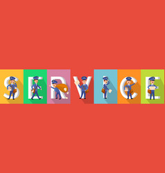 Service poster in colours with working carriers vector
