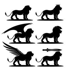 Set black lions vector