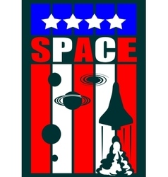 Shuttle launch to space USA flag elements vector image