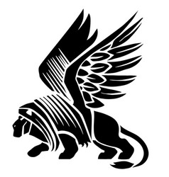 Sphinx logo in black tattoo isolated object on a vector