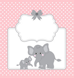 Template card with cute elephants vector