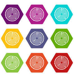 tree ring icon set color hexahedron vector image