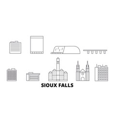 United states sioux falls line travel skyline set vector