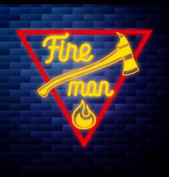 Vintage fireman emblem glowing neon vector