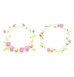 watercolor colorful pansy flower wreath frame vector image