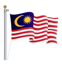 Waving malaysia flag isolated on a white vector