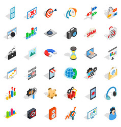 Web progress icons set isometric style vector