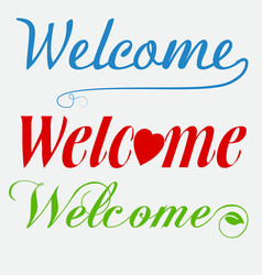 welcome font set vector image