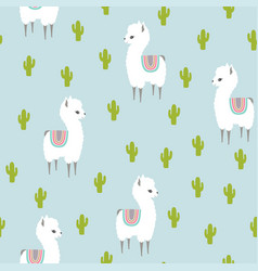 White llama alpaca and cactus seamless pattern vector