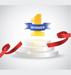 Winner background with red ribbon on round vector